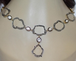 Victorian Diamond Necklace 3.82 Ct Natural Certified Diamond 925 Sterling Silver Everyday
