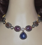 Vintage Style Necklaces 4.45 Ct Natural Certified Diamond Ruby Sapphire 925 Sterling Silver Engagement
