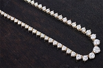 Solitaire Necklace White Gold 12.00 Ct Natural Diamond String solid Gold Wedding Certified