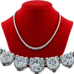 Diamond Strings 8.00 Ct Natural Round Diamond Solid White Gold Wedding Necklace Certified
