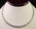Diamond Tennis Necklace 12.50 Ct Natural Diamond Solid White Gold Wedding Certified