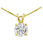 Gold Pendant 1.00 Ct Solid Gold Single Solitaire Natural Certified