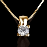 Gold Pendant Necklace 0.30 Ct Diamond Solid Gold Natural Certified