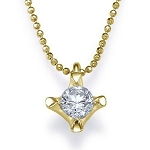 Gold Pendant Necklace 0.60 Ct Diamond Single Solitaire Natural Certified