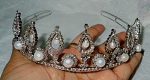 Diamond Tiara 21 Carat Natural Rose Cut Certified Diamond Sterling Silver Art Deco