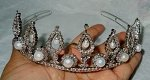 Gold Tiara Crown 37 Carat Natural Untreated Certified Diamond Pearl 14K White Gold Bridal Headpieces