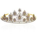 Diamond Tiara 25 Carat Natural Rose Cut Certified Diamond Sterling Silver Bridal Hair Accessories
