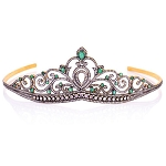Princess Tiara And Crown 21.15 Carat Natural Rose Cut Certified Diamond Sterling Silver Bridal Hair Accessories