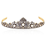 Tiara Online 19.25 Carat Natural Rose Cut Certified Diamond Sterling Silver Brithday Tiara
