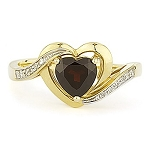 Heart Ring 0.24 Ct Natural Certified Diamond Garnet Solid Yellow Gold Shape