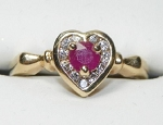 Heart Diamond Ring 0.25 Ct Real Certified Diamond 0.50 Ct Ruby Solid Yellow Gold