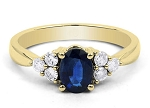 Sapphire Engagement Rings 0.32 Ct-Si1 Round Certified Diamond 18K Gold Special Occasion