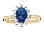 Blue Sapphire Engagement Rings 0.50 Ct Round Certified Diamond Solid Gold Anniversasry Festive