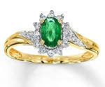 Emerald Ring 0.32 Ct Natural Certified Diamond Solid Gold Weekend