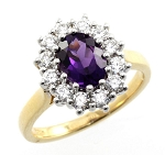Amethyst Rings 0.36 Ct Natural Certified Diamond Solid Gold Weekend
