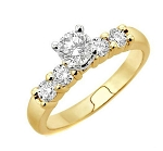 Engagement Rings For Women 0.80 Ct(Cen 0.40Ct) Round Certified Diamond Solid Yellow Gold