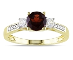 Garnet Rings Online 0.50 Ct Round Cut Certified Diamond Solid Yellow Gold Workwear