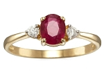 Ruby Engagement Rings 0.20 Ct Round Cut Certified Diamond Solid Yellow Gold Party