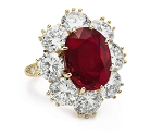 Ruby And Diamond Ring 1.00 Ct Round Certified Diamond Solid Gold Workwear