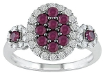 Ladies White Gold Rings 0.70 Ct Round Natural Certified Diamond Ruby Party