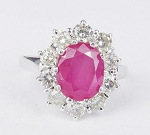 Diamond White Gold Ring 1.00Ct Round Natural Certified Diamond Ruby Workwear