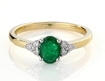 Gemstone Ring Design 0.18Ct Natural Certified Diamond Emerald 18K Solid Gold  Party