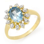 Blue Topaz Ring 0.30Ct Natural Certified Diamond Solid Gold  Vacation