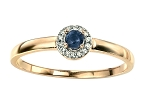 Sapphire Engagement Rings 0.28 Ct Natural Certified Diamond Solid Yellow Gold Party