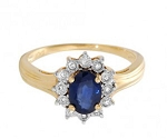 Blue Sapphire Ring For Women 0.25 Ct Certified Diamond (0.65 Ct Gemstone) Solid Yellow Gold Festive