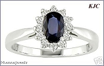 Sapphire Rings 0.30 Ct Certified Diamond (0.75 Ct Gemstone) Solid White Gold Party
