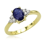 Sapphire Rings 0.30 Ct Natural Certified Diamond (0.85 Ct Gemstone) Solid Gold Vacation