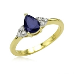 Blue Sapphire Ring 0.32 Ct Natural Certified Diamond (0.80 Ct Gemstone) Solid Gold Everyday