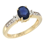 Blue Sapphire Engagement Rings 0.50 Ct Natural Certified Diamond (0.86 Ct Gemstone) Solid Gold Special Occasion