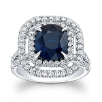 Sapphire Ring Designs 1.35 Ct Certified Diamond (1.28 Ct Gemstone) Solid Gold Festive
