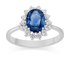 Blue Sapphire Ring For Women 0.56 Ct Real Certified Diamond Solid Gold Weekend