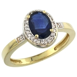 Blue Sapphire Engagement Rings 0.52 Ct Certified Diamond (1.05 Ct Gemstone) Solid Gold Everyday