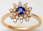 Sapphire Ring Designs 0.45 Ct Real Certified Diamond Solid Gold Office Wear