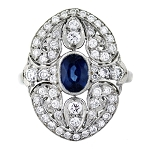 Sapphire Engagement Rings 1.12 Ct Natural Certified Diamond (0.50 Ct Gemstone) Solid Gold Festive
