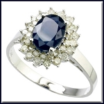 Blue Sapphire Engagement Rings 0.70 Ct Natural Certified Diamond (1.00 Ct Gemstone) Solid Gold Weekend