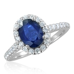 Blue Sapphire Ring For Women 0.65 Ct Certified Diamond (1.02 Ct Gemstone) Solid Gold Workwear