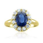 Blue Sapphire Ring 0.40 Ct Certified Diamond (0.82 Ct Gemstone) Solid Gold Office Wear