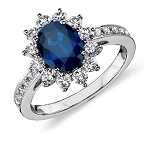 Sapphire Engagement Rings 0.50 Ct Natural Certified Diamond (1.20 Ct Gemstone) Solid Gold Special Occasion