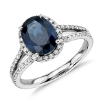 Blue Sapphire Engagement Rings 1.00Ct Natural Certified Diamond (1.50 Ct Gemstone) Solid Gold Festive
