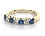 Blue Sapphire Ring For Women 0.30 Ct Natural Certified Diamond Solid Yellow Gold Workwear