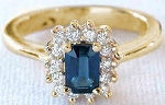 Sapphire Diamond Ring 0.35 Ct Natural Certified Diamond Solid Yellow Gold Everyday