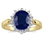 Blue Sapphire Engagement Rings 0.40 Ct Natural Certified Diamond (1.25 Ct Gemstone) Solid Gold Special Occasion