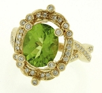 Cocktail Rings 1.25 Ct Natural Certified Diamond Peridot Solid Yellow Gold Everyday