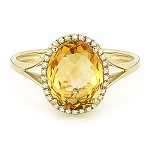 Gold Cocktail Rings 0.65 Ct Natural Certified Diamond 3.00 Ct G.Topaz Office Wear