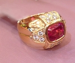 Gold Cocktail Rings 1.00 Ct Natural Certified Round Shape Diamond Ruby Festive