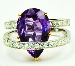 Diamond Cocktail Ring Designs 0.80 Ct Natural Certified Diamond Amethyst Solid Gold Everyday